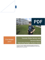 2012 City Budget Toronto Police Service and Services Board Operating Budget Analyst Notes