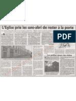 Le Canard Enchaîné - L'Eglise prie les sans-abri de rester à la porte - 14/11/2012