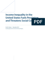 Income Inequality in the United States Fuels Pessimism and Threatens Social Cohesion