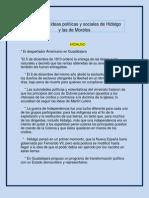 Escribe las ideas políticas y sociales de Hidalgo   y las de Morelos