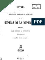 """Detall"" (sic) de las operaciones en defensa de la Capital de la República. Santa Anna"