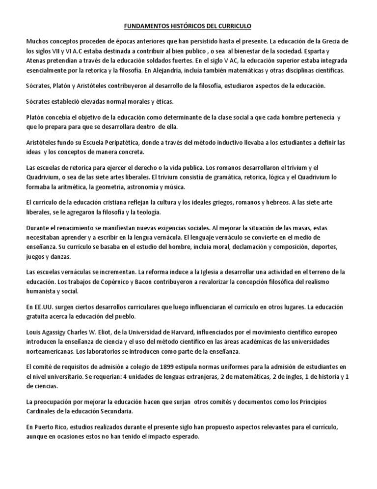 FUNDAMENTOS HISTÓRICOS DEL CURRICULO