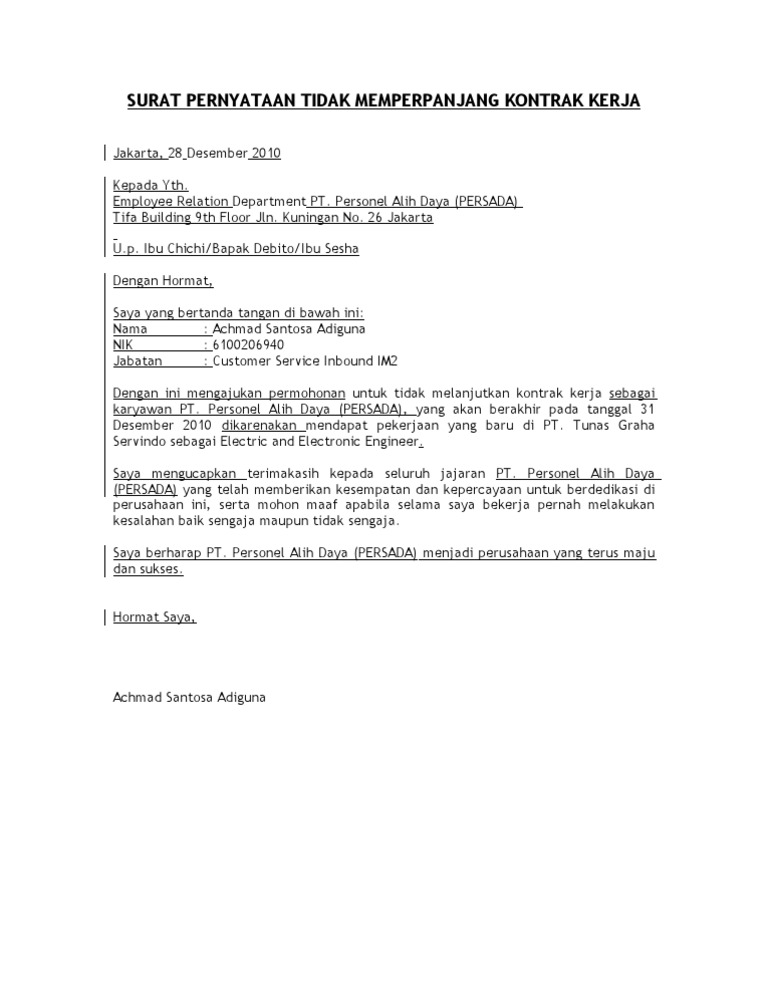 Surat Pernyataan Tidak Melanjutkan Kontrak Kerja