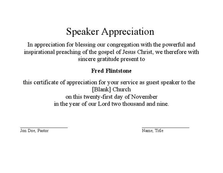 Guest Speaker Appreciation Certificate .