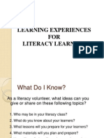 Learning Experiences For Literacy Learners
