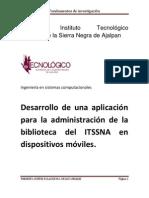 Desarrollo de una aplicación para la administración de la biblioteca del ITSSNA en dispositivos móviles.