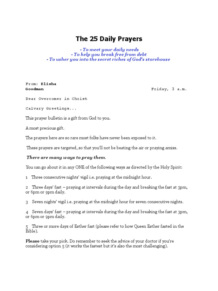 The 25 Daily Prayers | Fasting | Prayer