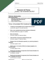 Resumen prensa CEU-UCH 5-12-2012
