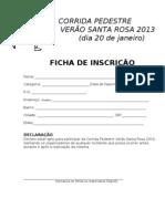 Ficha de Inscrição da Corrida Pedestre Verão Santa Rosa 2013