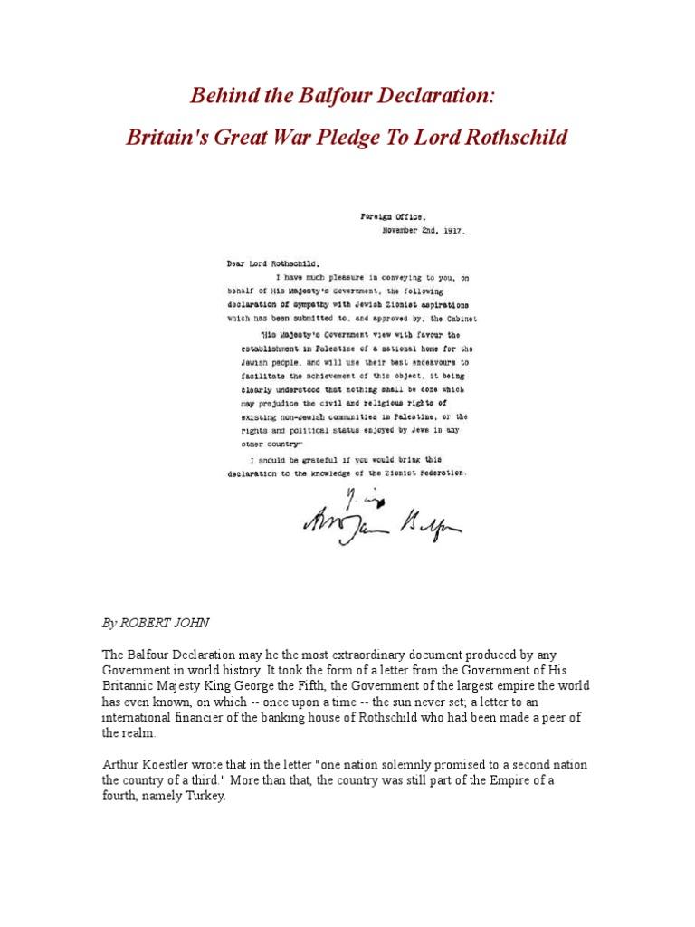 Behind The Balfour Declaration Zionism Sykespicot Agreement