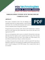 Wireless Speed Control of Dc Motor Uisng Rf Communication