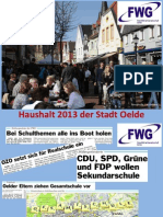 Begleitende Präsentation FWG-Haushaltsrede 2013