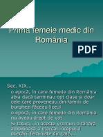 Prima femeie medic din România