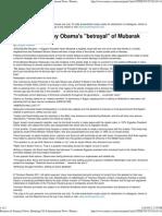 Israel Shocked by Obama's 'Betrayal' of Mubarak2011