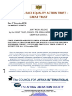 Holistic, Collective, Permanent, Sustainable PEACE, STABILITY & SECURITY - GREAT Trust, Council for Afrika Int & Afrika Liberation Society Joint Presser, 5th December 2012