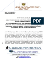 5th Anniversary of The Anti-Scientific Racism, Anti-Afrophobic Campaign - Joint Media Release by GREAT Trust, Council for Afrika International & Afrika Liberation Society - 30th Oct 2012