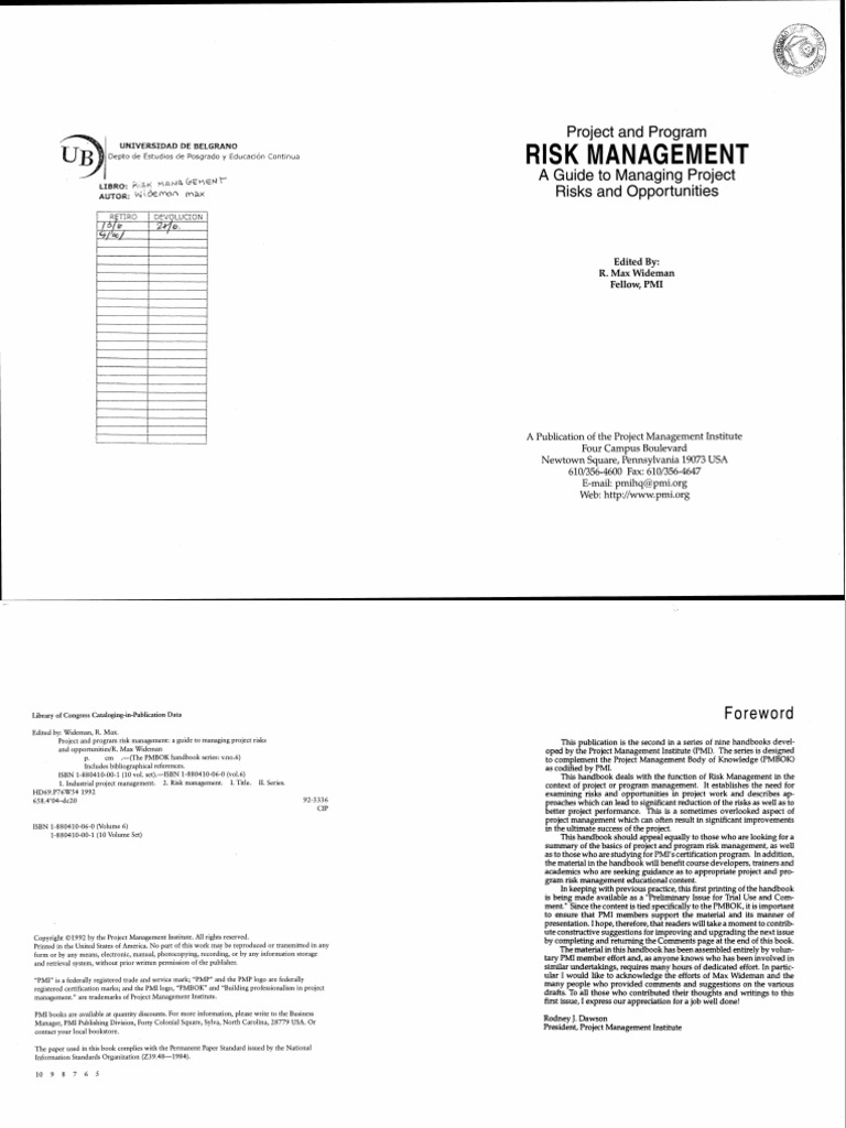Pmp project and program risk management a guide to managing pmp project and program risk management a guide to managing project risk and opportunities widemanpmi risk management risk fandeluxe Images