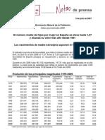 Datos Del INE sobre fecundidad en España