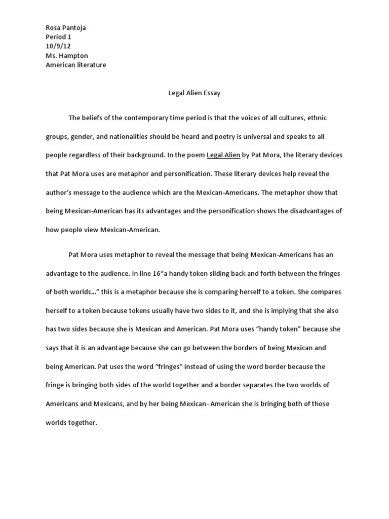 Metaphor Essay Legal Alien Essay Critical Theory Poetry Poem