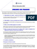 CPN 4 DECEMBRE 2012 COMMUNIQUE CCI FRANCE