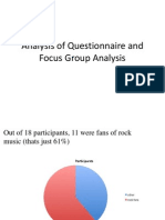 Analysis of Questionnaire and Focus Group Analysis