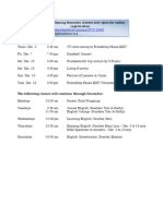 Friendship House MSU December 2012 Schedule