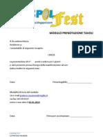 Modulo Prenotazione Tavoli Ciaspolfest
