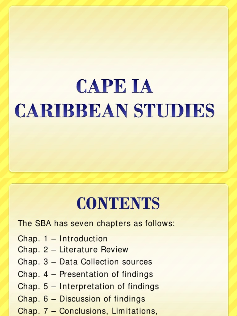 caribbean studies ia Caribbean studies ia (16 pages) 1 introduction in the caribbean and specifically in jamaica, the most accepted language for communication is that language left to us by our european colonisers the pidgin.