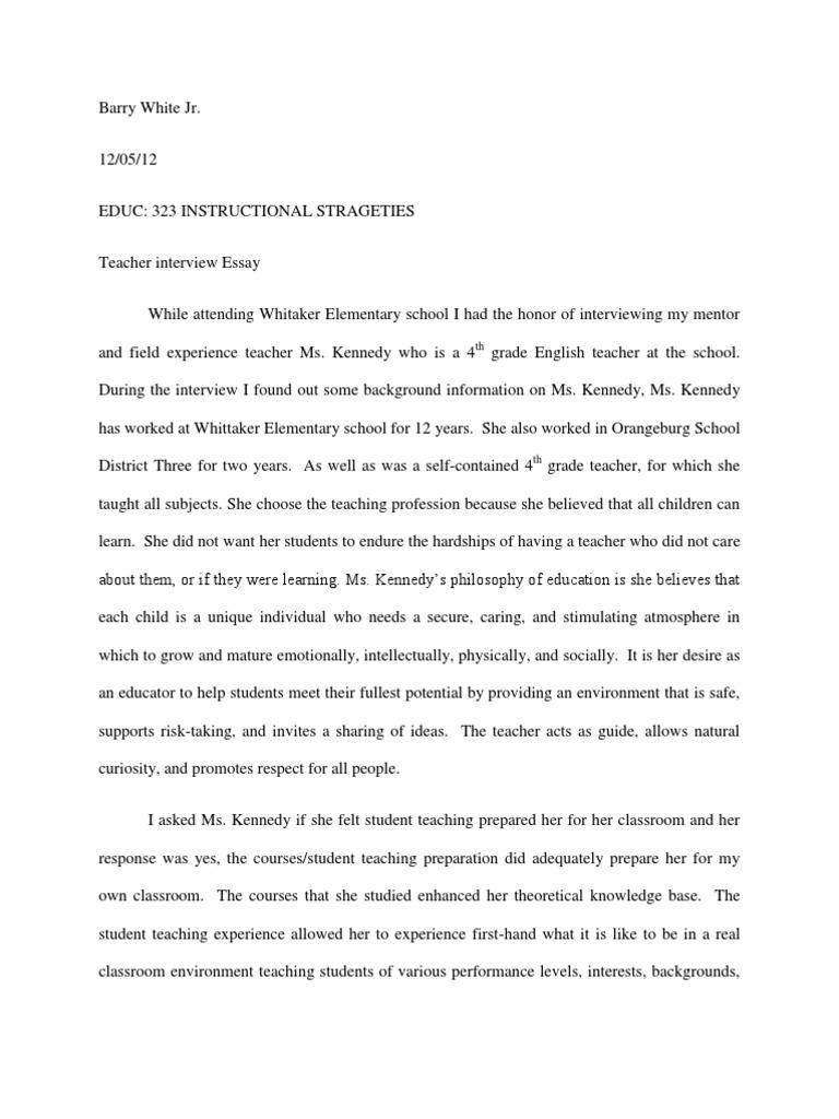 Teacher Interview Essay | Sharing | Teachers