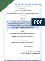 Evaluation Et Amelioration de La Technologie Traditionnelle de Production de kpete Un Ferment Traditionnel Utilise Dans La Fermentation Du Tchoukoutou