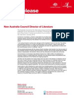 Media release - New Australia Council Director of Literature - 6 December 2012