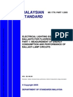 Ms 1778 Part 1 2005 Electrical Lighting Equipment Ballasts for Fluorescent Lamps Part 1 Measurement of Energy Consumption and Performance of Ballast Lamp Circuits