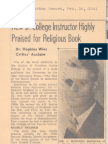 Family 410218 y1940 Howard Hopkins Book Review Cover Gift Note Rise of Social Gospel 02