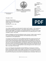 Letter from State Rep. Jesse White to DEP Secretary Michael Krancer with concerns about water quality testing near Marcellus Shale drilling sites