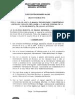 Decreto Extraordinario No. 069 de 30 de septiembre de 2012 - Manual de Funciones