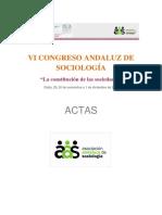 """VI CONGRESO ANDALUZ DE SOCIOLOGÍA """"La constitución de las sociedades"""" Cádiz, 29, 30 de noviembre y 1 de diciembre de 2012"""