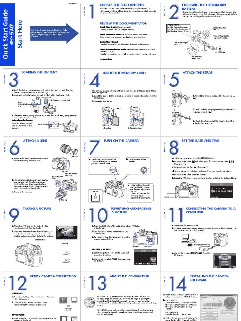 olympus e 510 quick start guide shutter photography camera rh scribd com Olympus Digital Camera Olympus E510 Problems