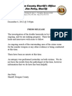Morgan County Sheriff's Office 12/6/2012 News Release re