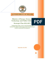BELIZE Ministry of Energy, Science & Technology and Public Utilities Strategic Plan 2012-2017