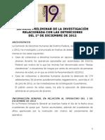 INFORME PRELIMINAR DE LA INVESTIGACIÓN RELACIONADA CON LAS DETENCIONES DEL 1º DE DICIEMBRE DE 2012