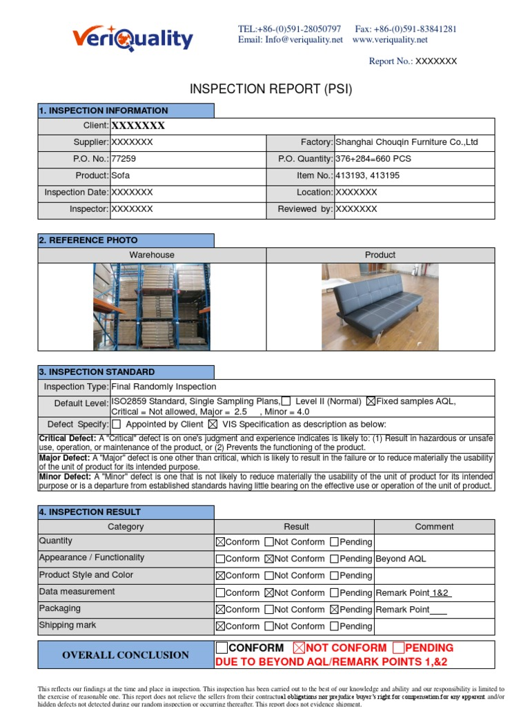 Sample Report for Furniture Inspection | Specification (Technical ...
