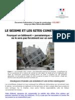 1. Le Seisme Et Les Sites Constructibles