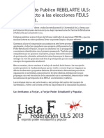 Comunicado Lista F_ Forjando Poder Estudiantil y Popular.