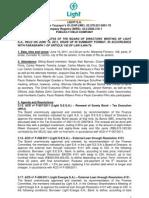 Minutes of Board of Directors Meeting 10 06 2011
