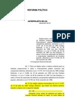 PL - Anteprojeto de Lei - REFORMA POLÍTICA