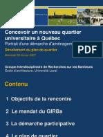 Concevoir un nouveau quartier universitaire à Québec; Portrait d'une démarche d'aménagement participatif