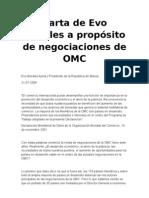 Carta de Evo M a Proposito de Negociaciones de OMC
