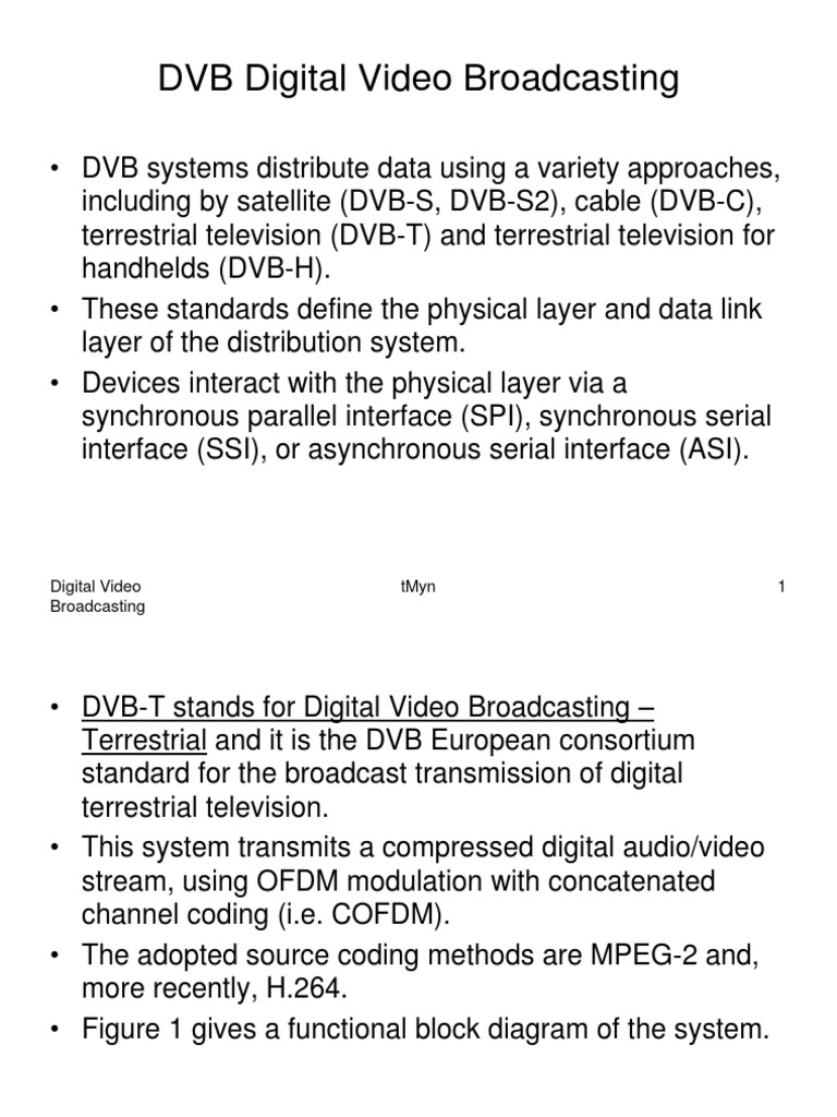 Dvb Digital Video Broadcasting Orthogonal Frequency Division H 264 Block Diagram Multiplexing Modulation