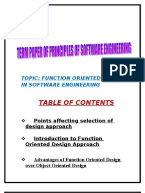 Software Engineering Term Paper On Function Oriented Design Subroutine Design
