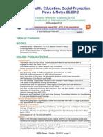 Health, Education, Social Protection News & Notes 26/2012